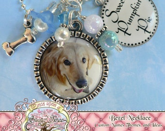Custom Pet Photo Necklace with Side Bezel, Dog, Cat, Animal, Photo Pendant, Memory Photograph,Pet ID Tag, Mother, Grandmother, Children