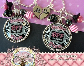 BFF ZEBRA Personalized Names Bezel Pendant Necklaces (2 necklaces included), Heart Best Friend Charms, Best Friends Forever, BFF, Birthday