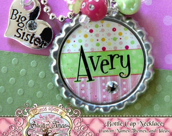 Big SISTER Necklace, Personalized Name Bottle Cap Necklace, Big Sister Charm, Birthday, Gift, New Sister, Charm Necklace, Little Sister