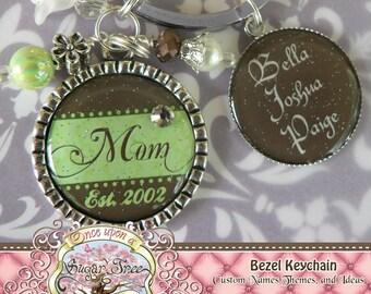Mother's Double Pendant Bezel Key Chain(or Necklace), Green Brown, Children's Names, Grandma, Nana, Mom, Gift Present, Noni, Mimi, Est. Date