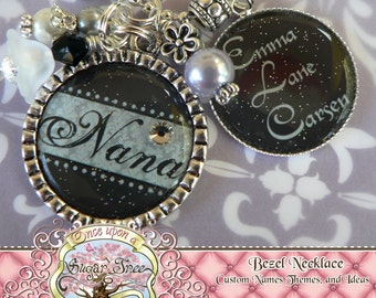 Nana Double Pendant Bezel Necklace (or Keychain), Charcoal and Grey, Children's Names, Grandma, Nana, Mom, Gift Present, Noni, Mimi