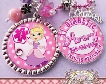 MEDICAL ALERT PRINCESS Necklace, Medical Alert Symbol-T1 Diabetic Diabetes, Peanut Allergy, Epilepsy, Food Allergy, Asthmatic, Emergency