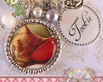Pet Jewelry, Custom Pet Necklace, Photo Necklace, Name, Dog, Cat, Animal, Photo Pendant, Memory Photograph, Pet ID Tag, Personalized