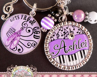 MUSIC THEME Keychain, Personalized Name Musical Key Chain, Treble Clef, Ballet Slippers, Dance, Piano Notes, Singer, Piano Teacher