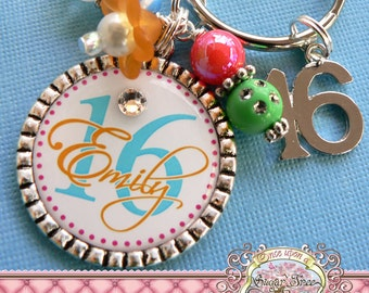 SWEET 16 Gift, Personalized Name Key Chain, Number 16 Charm, Sweet 16, Birthday Gift, Get Well, Personalized Jewelry