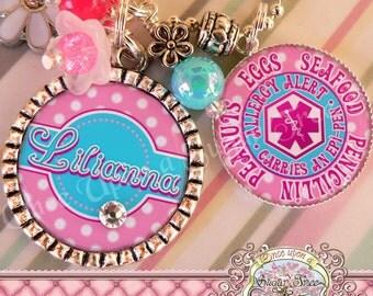 MEDICAL ALERT Personalized Necklace, Medical Alert Symbol-T1 Diabetic Diabetes, Peanut Allergy, Epilepsy, Food Allergy, Asthmatic, Emergency