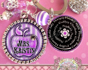 Teacher Gift Personalized Key Chain (or Necklace)- Keychain, Bottle Cap, Teacher Appreciation, Rhinestone Apple Charm, Children's Names
