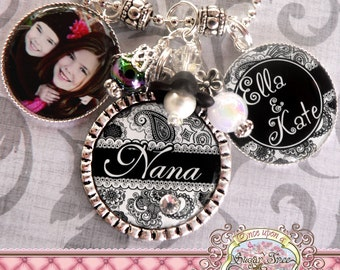 Nana Necklace, Triple Pendant Bezel NECKLACE, Black White Paisley, Photograph, Children's Names, Mother's Day Gift, Grandma, Mom, Mimi