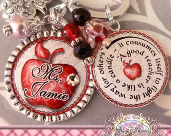 Teacher Gift Personalized Key Chain (or Necklace)- Keychain, Bottle Cap, Teacher Appreciation, Rhinestone Apple Charm, Inspirational Quote