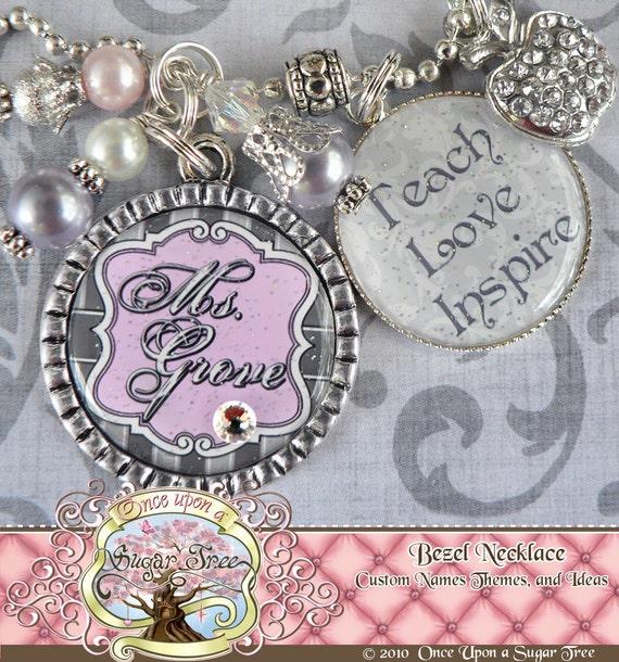 Teacher Gift Personalized TEACH LOVE INSPIRE Necklace, Elegant Apple, Pink Gray, Teacher Appreciation, Rhinestone Apple Charm, Damask
