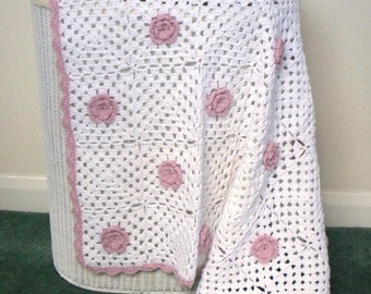 Crochet Baby Girl's White and Pink Flower Blanket, Crochet Baby Blanket, Crochet Blanket, Crochet Baby Afghan, Cotton Blanket, Cot Blanket
