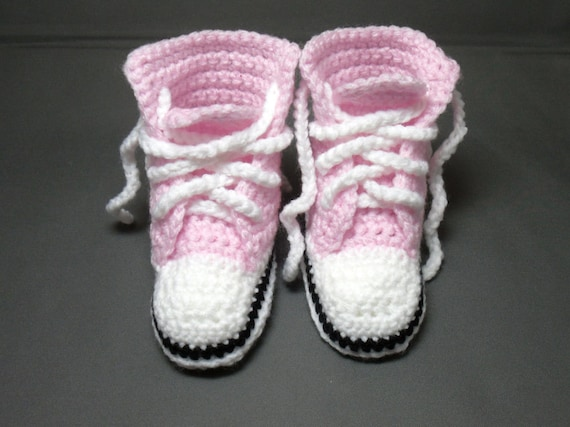 Crocheted Converse Style Pink Baby Booties/Bootees/Shoes