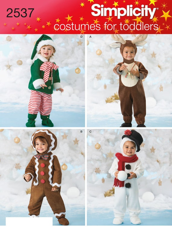Simplicity Pattern 2537 Toddler Christmas Costumes Sizes 1/2-4 NEW