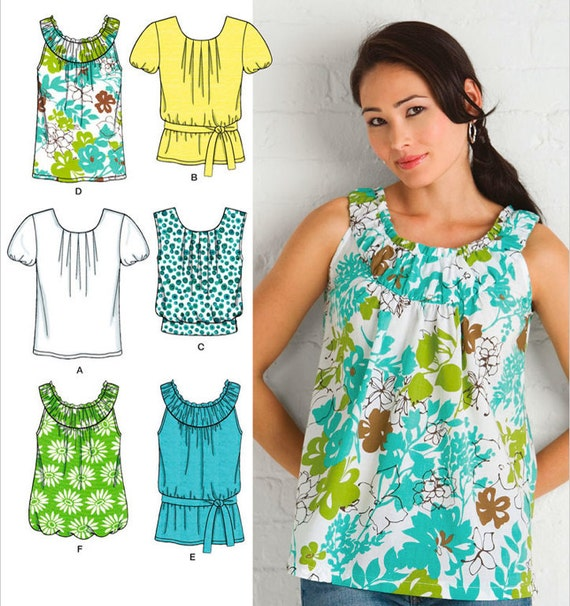 Simplicity Pattern 2892 Misses' Six Made Easy Short Sleeved Blouse Patterns Sizes 14-22 New