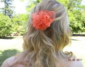 Orange Chiffon Flower Hair Clip