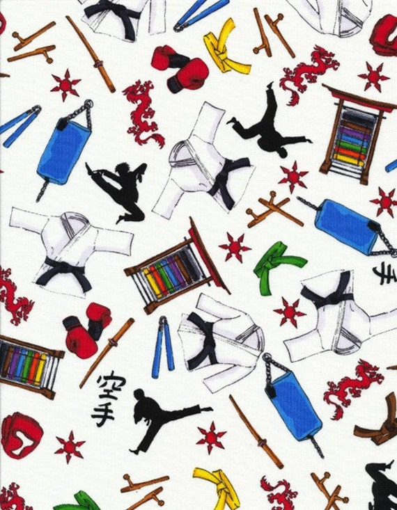 RESERVE ORDER for CarolCotton Novelty Fabric, Martial Arts, Timeless Treasures