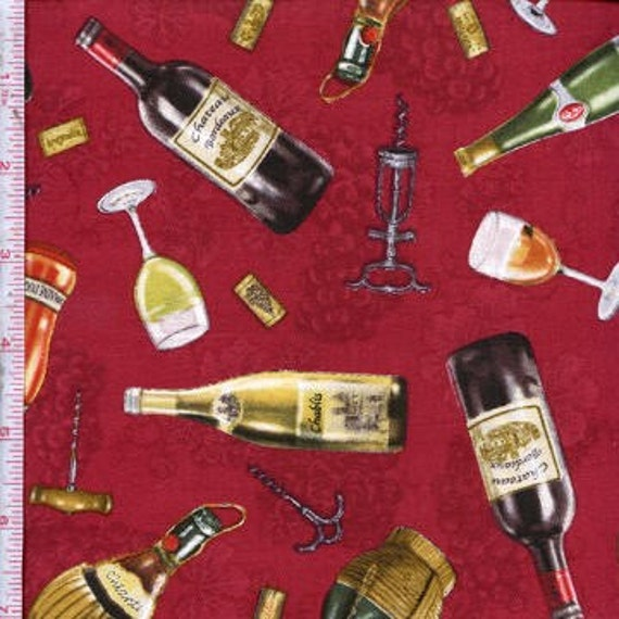 One Yard Cotton Quilting Fabric, Wine Country, Burgundy background, Elizabeth's Studio