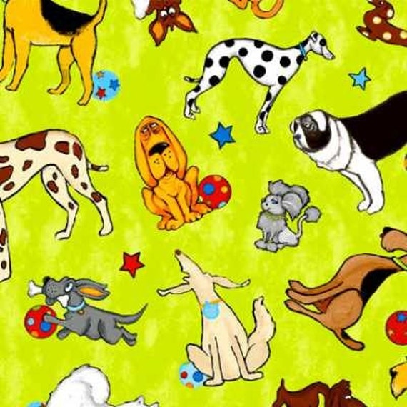 1 yard cotton quilting fabric, It's a Dog's Life, Green, by South Seas Imports