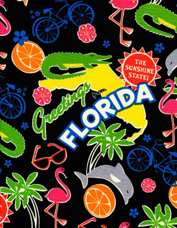 Cotton novelty fabric,  Florida, by Timeless Treasures