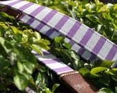 REVERSIBLE Camera Leather Strap - Violet striped with middle brown leather ends  (OWNER WORD)