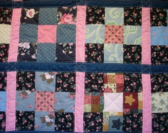 Baby Girl Crib Quilt, handmade, blue and pink