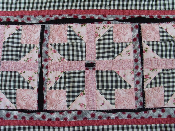 Pink and Black Table Runner