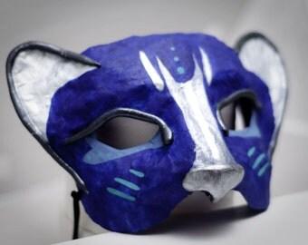 Venetian-style blue cat mask