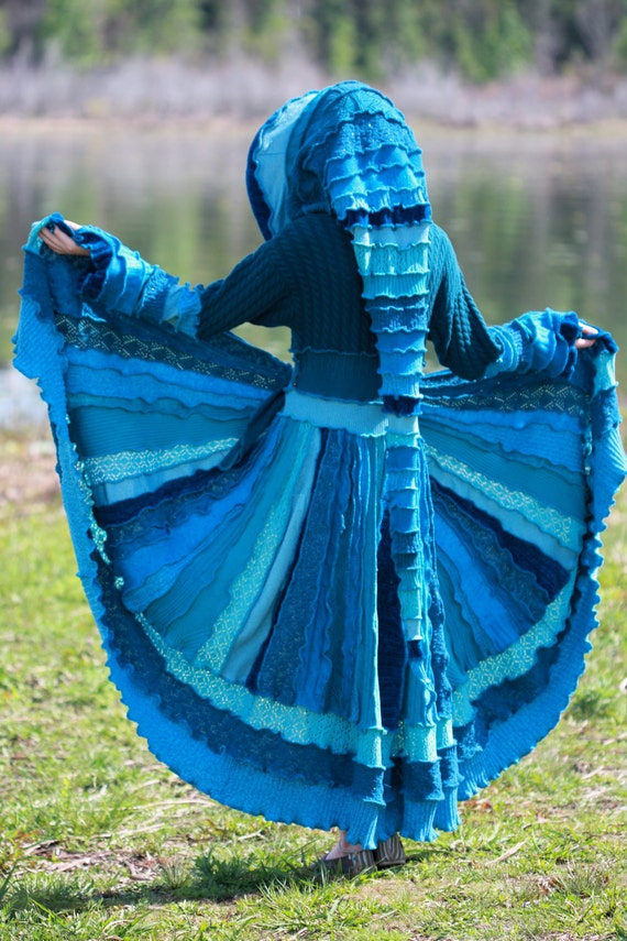 Reserved For Tiffanymarks17 deposit for   recycled sweater gypsy elf  Water Goddess fairie dream traveling kaleidoscope coat