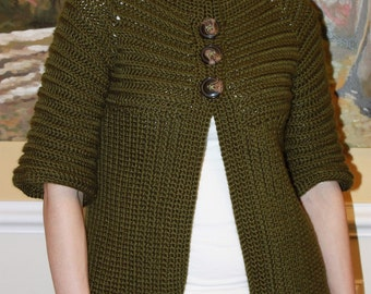 Ribbed Jacket with Pleat Crochet PDF Pattern