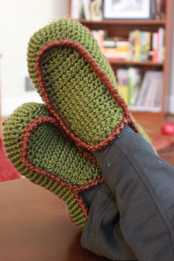 Free Crochet Pattern Loafer Slippers : Mens Loafer Style House Slipper Crochet Pattern