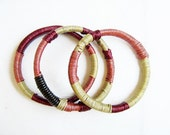 Leather wrapped bangles -  red, gold, pink, set of 3