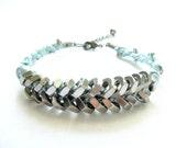 Industrial glam bracelet, baby blue accents - hex nut heavy duty Chevron  braided jewelry