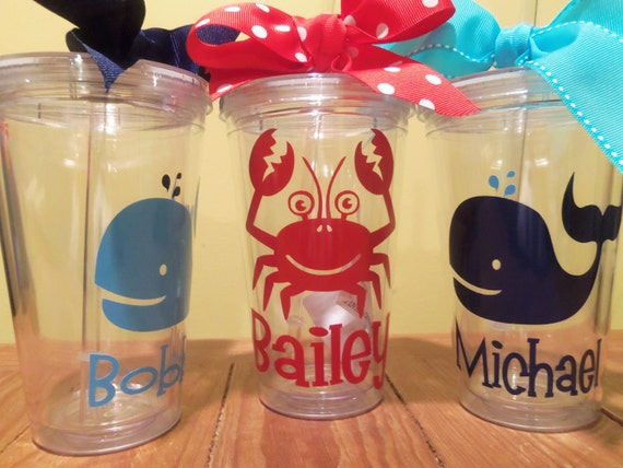 Personalized Decorated Summer Tumblers Beach Theme