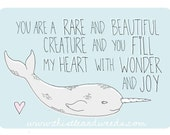 Rare and Beautiful - Narwhal - Greeting Card