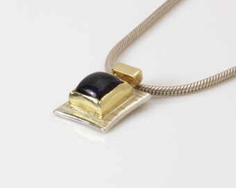 Silver and gold necklace, gemstone pendant necklace, iolite stone square pendant necklace