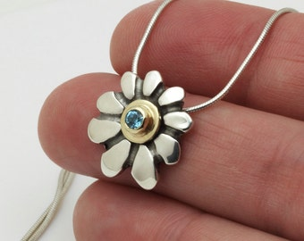 Flower pendant necklace, Gold silver necklace, Blue Topaz birthstone jewelry