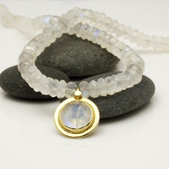 Glowing Moonstone & 14k solid gold necklace