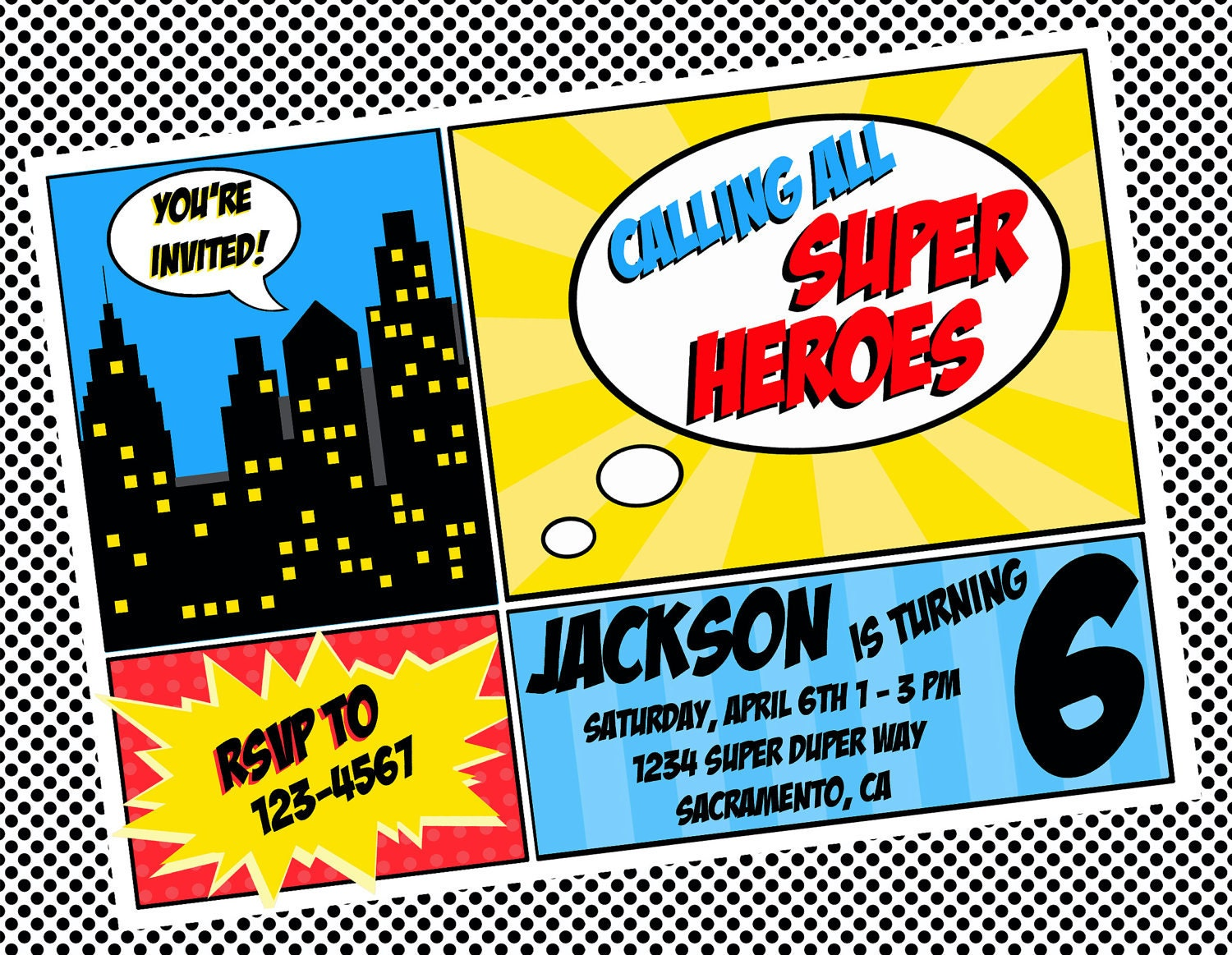 superhero invitation template template