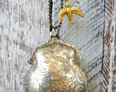 Purse Keepsake and Bird Long Necklace-Antique Silver By  Coughing Cow & Chicken
