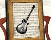 Gibson LES PAUL Electric Guitar illustration art print over an upcycled vintage sheet music page Buy 3 get 1 Free