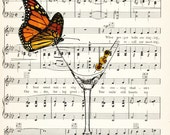 SOCIAL BUTTERFLY on a Martini Glass with Olives illustration art print over an upcycled vintage sheet music page Buy 3 get 1 Free