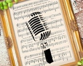 Cool RADIO MICROPHONE illustration art print over an upcycled vintage sheet music page Buy 3 get 1 Free