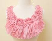 Pink Color Chiffon Fabric Rose Applique