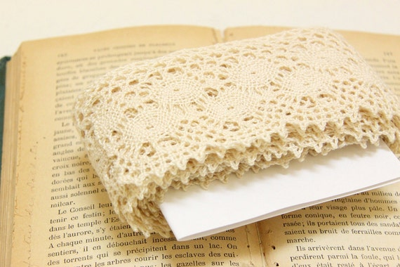 """4yds of Natural Color Cotton Cluny Lace // 2.5"""""""