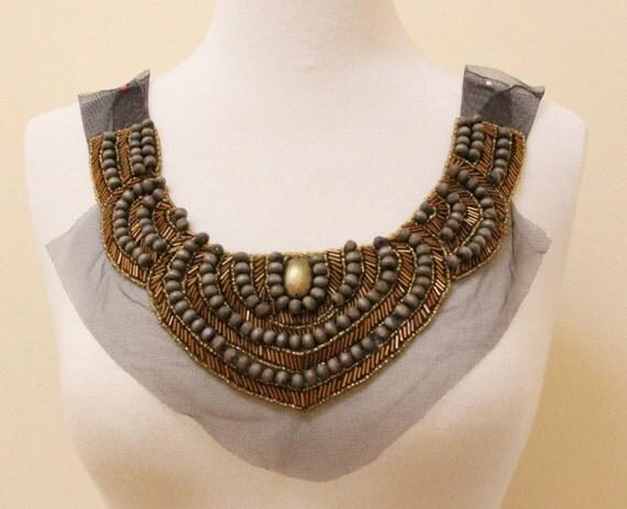 Brown Wood Bead & Bronze Beads Hand Beading Applique
