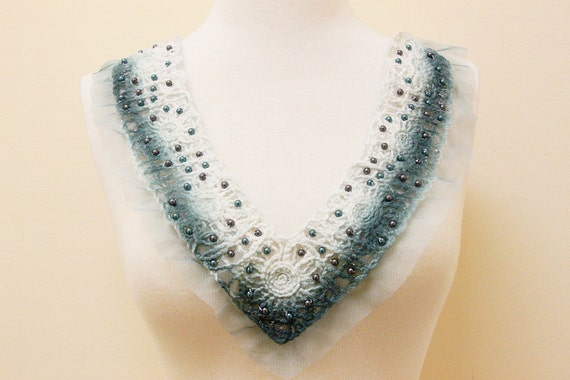 Grey and Teal Color Pearl Beading Applique