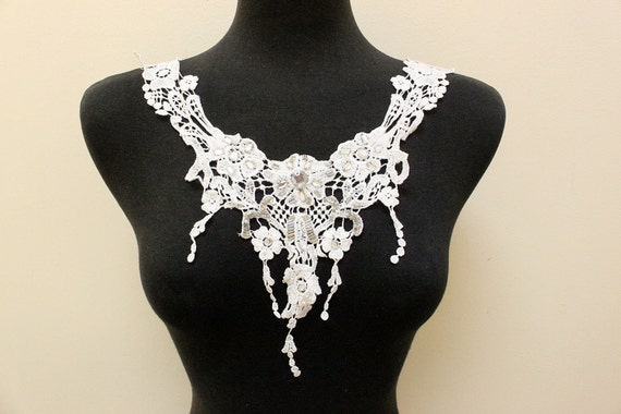 White Venice Applique with Clear Stones and Silver Beading