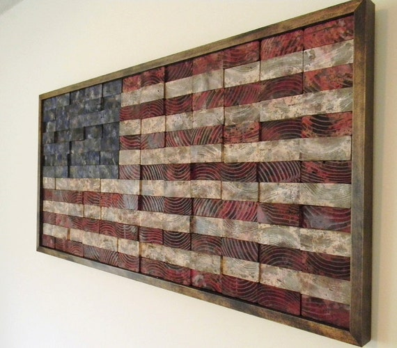 Recommissioned Flag No 3 Original Oil On Reclaimed Wood