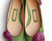 Leather Ballerina Shoe with leather roses - Handmade - 100% genuine leather - green&purple