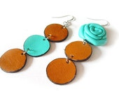 Blue rose 2 - Leather Asymmetric Earrings with Leather Rose